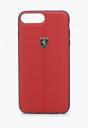 Чехол для iPhone Ferrari 7 Plus / 8 Plus, Heritage W Leather Red. Цвет: бордовый