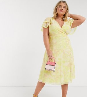 Платье миди лимонного цвета с цветочным принтом и запахом -Желтый Little Mistress Plus