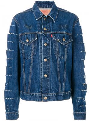 Джинсовая куртка с декоративными прорезями R13