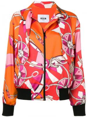 Куртка-бомбер с принтом MSGM. Цвет: оранжевый