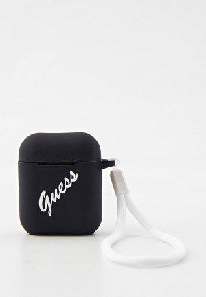 Чехол для наушников Guess Airpods Silicone case Script logo with cord Black/White. Цвет: черный