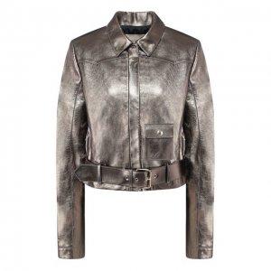 Кожаная куртка с поясом Elie Saab. Цвет: золотой