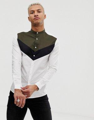 Приталенная рубашка с воротником на пуговице и вставками -Мульти ASOS DESIGN