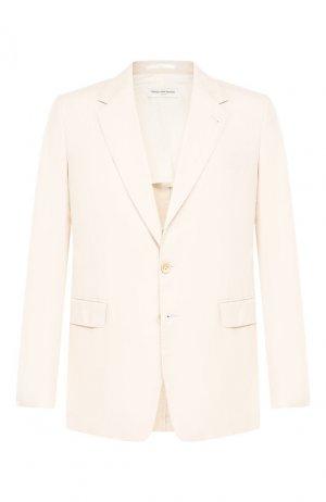 Хлопковый пиджак Dries Van Noten. Цвет: кремовый