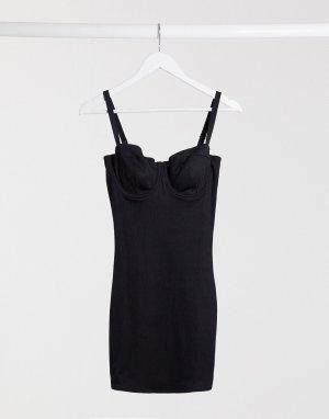 Моделирующее платье с чашечками на косточках для груди большого размера -Черный ASOS DESIGN