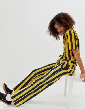 Прямые брюки в яркую полоску -Желтый Dickies