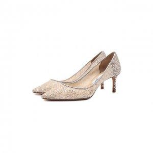 Комбинированные туфли Romy 85 Jimmy Choo. Цвет: серебряный