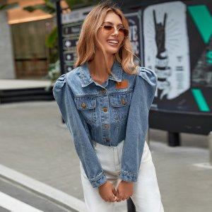 На пуговицах Одноцветный Повседневный Джинсовые куртки и пальто SHEIN. Цвет: синий цвет средней стирки