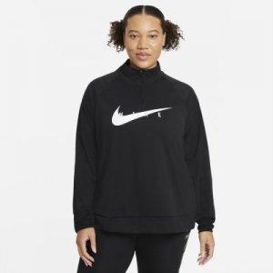 Женская беговая футболка Swoosh Run (большие размеры) - Черный Nike