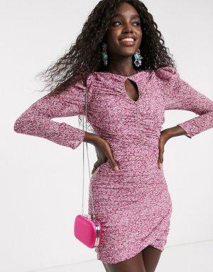 Платье мини с запахом и принтом фиолетового цвета -Фиолетовый Bardot