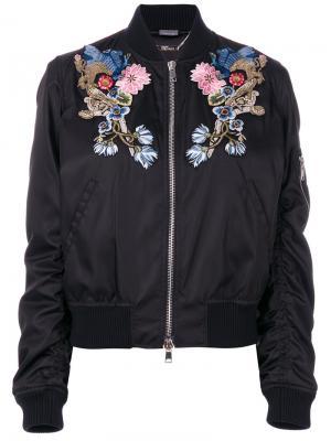 Куртка-бомбер с цветочной вышивкой Alexander McQueen. Цвет: чёрный