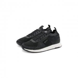 Текстильные кроссовки BOSS. Цвет: чёрный