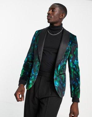 Зеленый пиджак с тропическим принтом перьев -Зеленый цвет Twisted Tailor