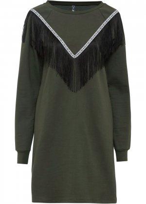 Платье с бахромой bonprix. Цвет: зеленый