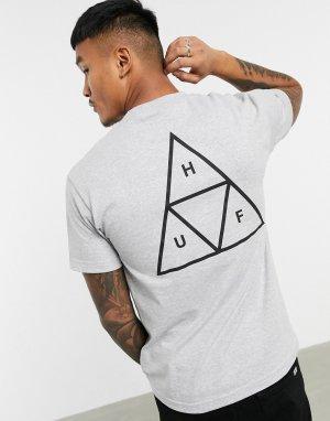 Серая футболка с логотипом Essentials-Серый HUF
