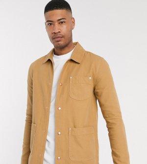 Светло-коричневая джинсовая куртка-рубашка Tall-Светло-коричневый ASOS DESIGN