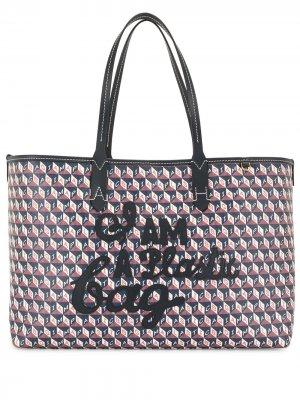 Сумка-тоут I Am A Plastic Bag Anya Hindmarch. Цвет: синий