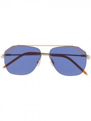 Солнцезащитные очки в квадратной оправе Fendi Eyewear. Цвет: оранжевый