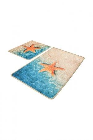 Комплект ковриков для ванной Chilai Home. Цвет: голубой