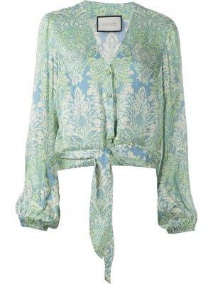 Рубашка с цветочным принтом и завязками Alexis. Цвет: синий