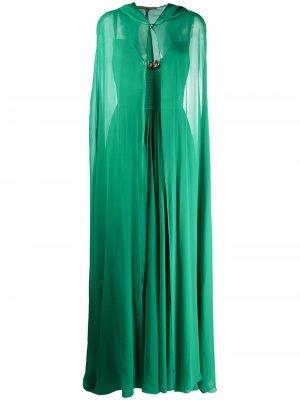 Шелковое коктейльное платье с кейпом Elie Saab. Цвет: зеленый
