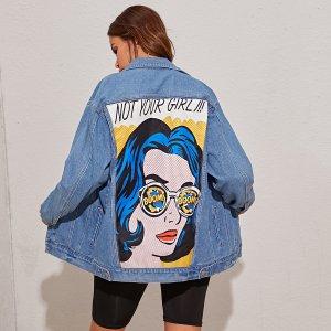 Джинсовая куртка с графическим принтом сзади SHEIN. Цвет: синий