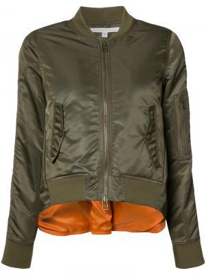 Куртка-бомбер с разрезом на спине Veronica Beard. Цвет: зелёный