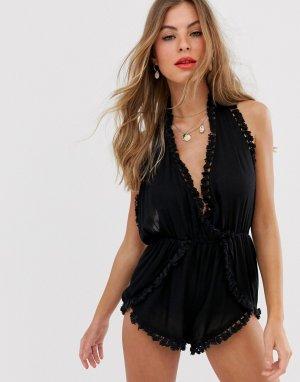 Пляжный ромпер с халтером и кисточками -Черный South Beach