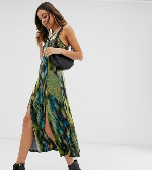 Платье-комбинация миди с абстрактным принтом и кружевными вставками Ebonie n Ivory-Мульти ivory