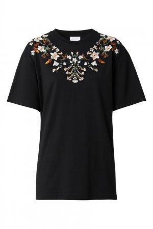 Черная футболка с вышивкой Burberry. Цвет: черный