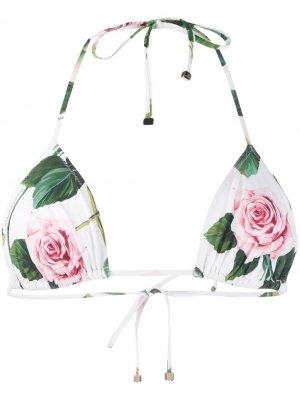 Лиф бикини с цветочным принтом Dolce & Gabbana. Цвет: белый