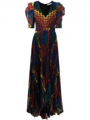 Плиссированное платье макси Haven Alice+Olivia. Цвет: оранжевый