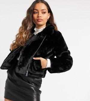 Черная косуха из искусственного меха -Черный Vero Moda Petite