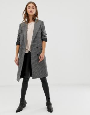 Пальто в клетку Paityn AllSaints. Цвет: серый
