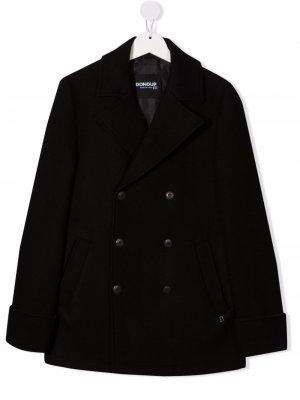 Двубортное пальто Dondup Kids. Цвет: черный
