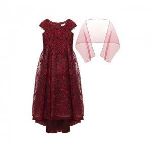 Платье-макси с шарфом Ciao Kids. Цвет: красный