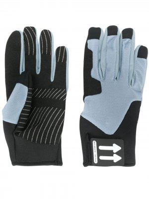 Перчатки с нашивкой-логотипом Off-White. Цвет: серый