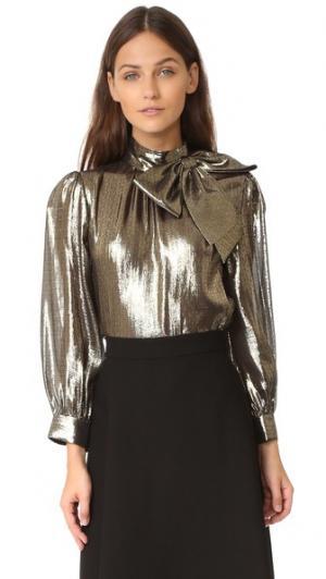 Блуза Violeta с большим бантом на шее alice + olivia. Цвет: золотистый/черный