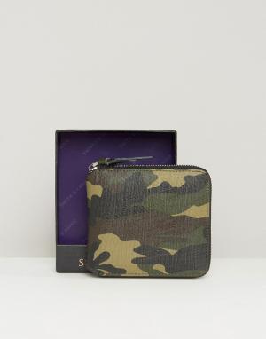 Круглый камуфляжный кожаный кошелек на молнии Smith And Canova. Цвет: зеленый