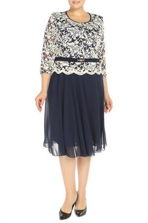 Платье CREDO. Цвет: темно-синий, кремовый