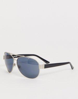 Солнцезащитные очки-авиаторы в серебристой матовой оправе Levis-Черный Levi's