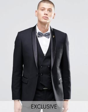 Зауженный пиджак-смокинг с лацканами наклонной формы Farah. Цвет: темно-синий