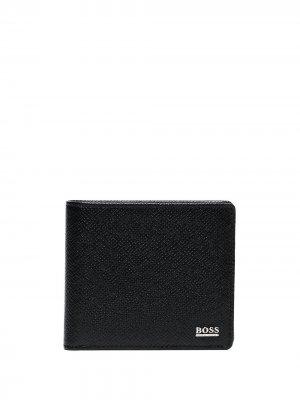 Фактурный бумажник с логотипом BOSS. Цвет: черный