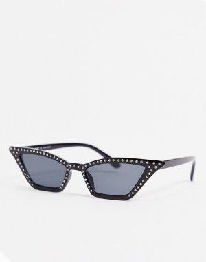 Черные солнцезащитные очки кошачий глаз с отделкой -Черный цвет AJ Morgan