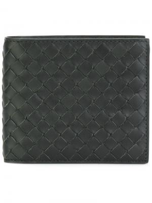 Dark moss Intrecciato wallet Bottega Veneta. Цвет: черный