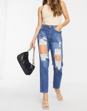 Синие выбеленные джинсы в винтажном стиле с завышенной талией и большими прорехами -Серый NaaNaa