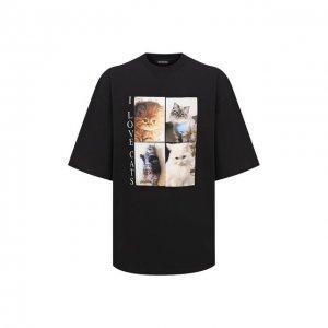 Хлопковая футболка Balenciaga. Цвет: чёрный