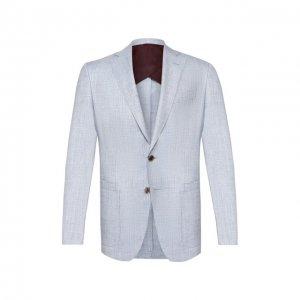 Пиджак из смеси шерсти и шелка Luciano Barbera. Цвет: голубой