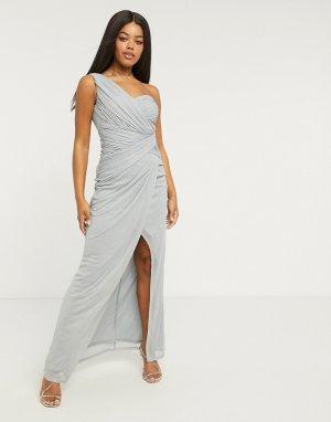 Блестящее синее платье макси на одно плечо x Abbey Clancy-Синий Lipsy