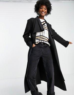 Черное пальто каскадного кроя с большим воротником -Черный цвет ASOS DESIGN